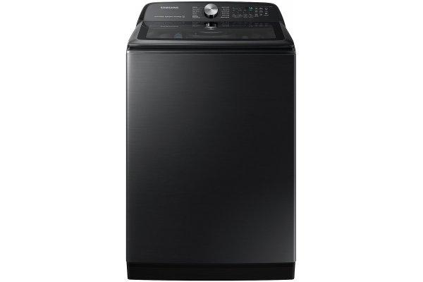 Large image of Samsung 5.2 Cu. Ft. Brushed Black Large Capacity Smart Top Load Washer With Super Speed Wash - WA52A5500AV/US