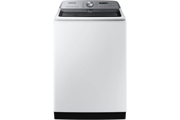 Large image of Samsung 5.2 Cu. Ft. White Large Capacity Smart Top Load Washer With Super Speed Wash - WA52A5500AW/US