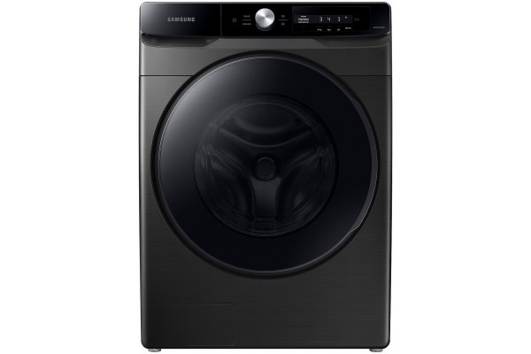 Large image of Samsung 4.5 Cu. Ft. Brushed Black Large Capacity Smart Dial Front Load Washer With Super Speed Wash - WF45A6400AV/US