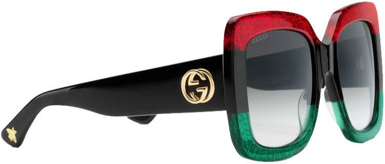 0af7250ca9d Gucci TriColor Square Acetate Womens Sunglasses - GG0083S-001 55. Gucci  GG0083S-001 55 - Side View