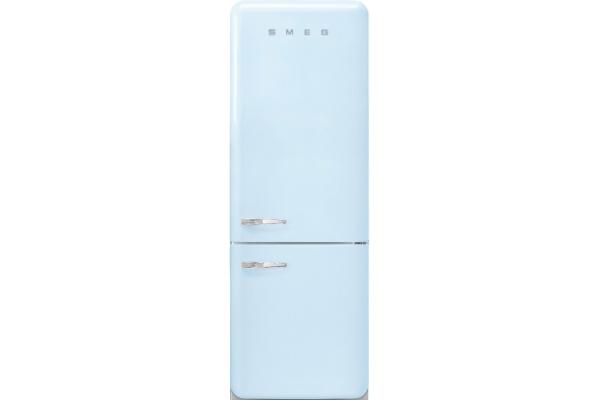 Large image of Smeg 50's Retro Style Aesthetic 18 Cu. Ft. Pastel Blue Right-Hinge Bottom Freezer Refrigerator - FAB38URPB