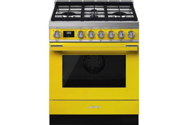 "Large image of Smeg Portofino 30"" Yellow Gas Range - CPF30UGGYW"