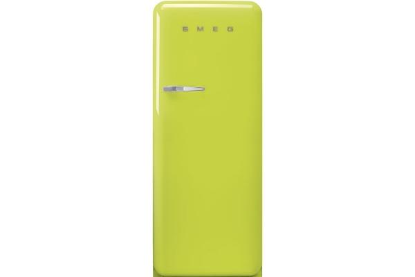 Large image of Smeg 50's Retro Style Aesthetic Right-Hinge Lime Green Refrigerator - FAB28URLI3