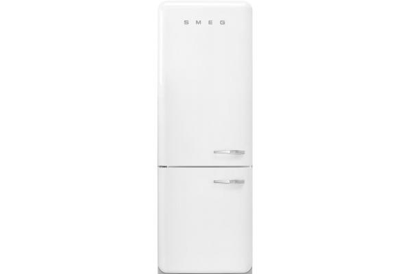Large image of Smeg 50's Retro Style Aesthetic 18 Cu. Ft. White Left-Hinge Bottom Freezer Refrigerator - FAB38ULWH