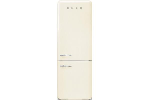Large image of Smeg 50's Retro Style Aesthetic 18 Cu. Ft. Cream Right-Hinge Bottom Freezer Refrigerator - FAB38URCR