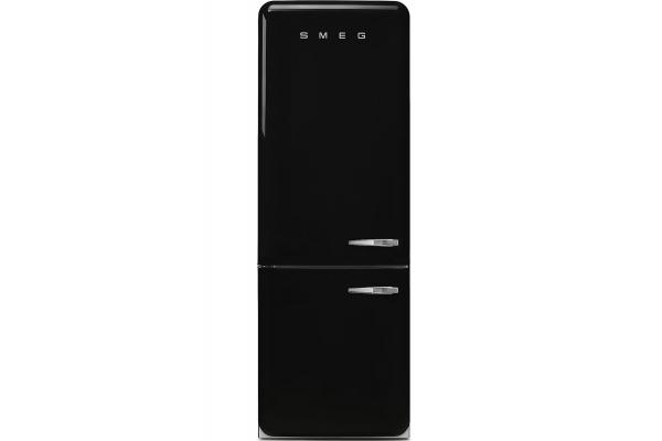 Large image of Smeg 50's Retro Style Aesthetic 18 Cu. Ft. Black Left-Hinge Bottom Freezer Refrigerator - FAB38ULBL