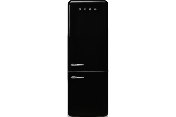 Large image of Smeg 50's Retro Style Aesthetic 18 Cu. Ft. Black Right-Hinge Bottom Freezer Refrigerator - FAB38URBL