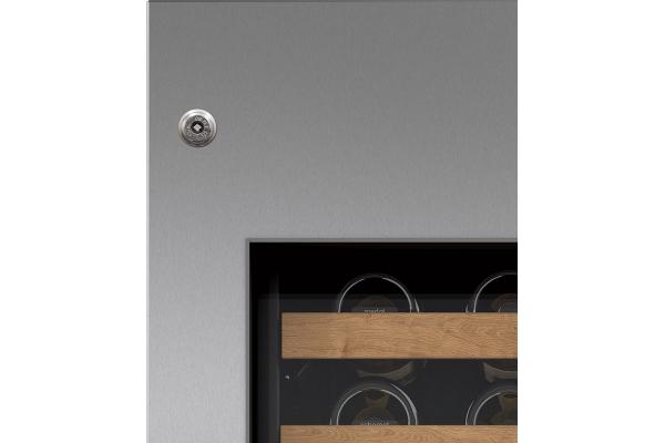 "Large image of Sub-Zero 30"" Stainless Steel Left Hinge Wine Storage Door Panel With Tubular Handle And Lock - 7025403"