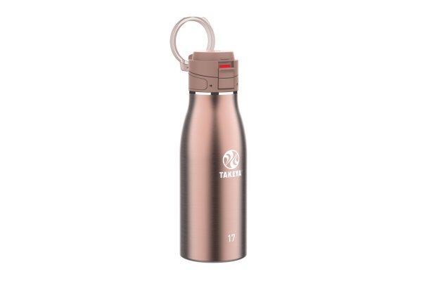 Large image of Takeya 17 Oz Rose Gold Traveler Insulated Water Bottle - 52200