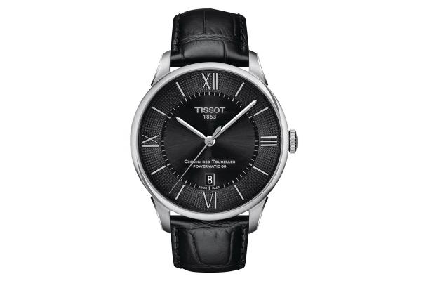 Large image of Tissot Chemin Des Tourelles Powermatic 80 Black Dial Leather Watch, 42mm - T0994071605800