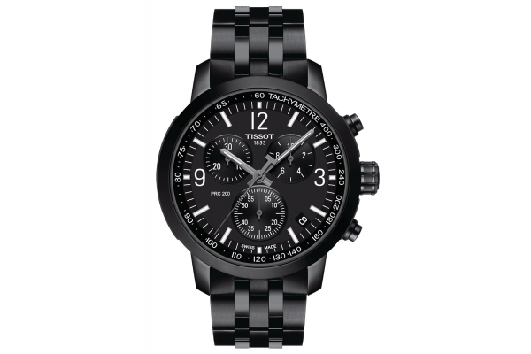 Large image of Tissot T-Sport PRC 200 Chronograph  Black Stainless Steel Watch, 43mm - T1144173305700