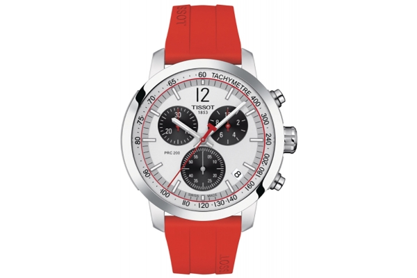Large image of Tissot PRC 200 Chronograph Silver Dial Silicone Watch, 43mm - T1144171703702