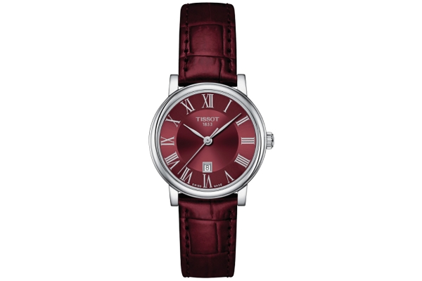 Large image of Tissot Carson Lady Burgundy Dial Leather Watch, 30mm - T1222101637300