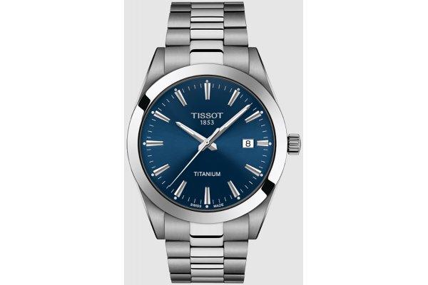 Large image of Tissot Gentleman Titanium Blue Dial Titanium Watch, 40mm - T1274104404100
