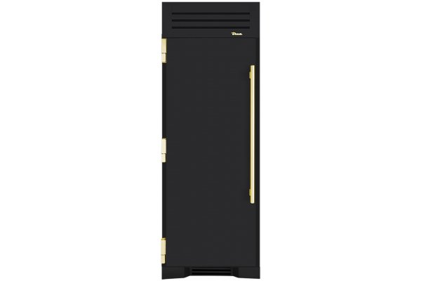 "Large image of True Residential 30"" Matte Black Left-Hinge Built-In Freezer Column With Brass Hardware - TR-30FRZ-L-SS-A-027-H01"