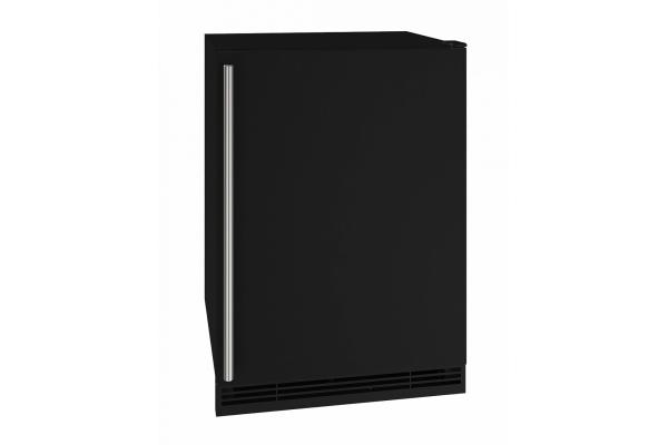 """Large image of U-Line 24"""" Black Solid Refrigerator - UHRE124-BS01A"""