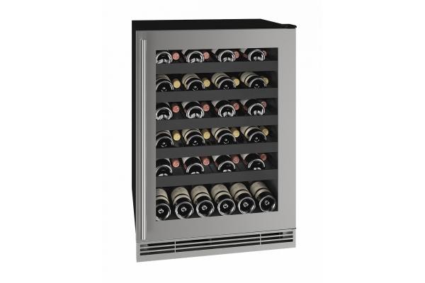 "Large image of U-Line 24"" Stainless Frame Wine Refrigerator - UHWC124-SG01A"