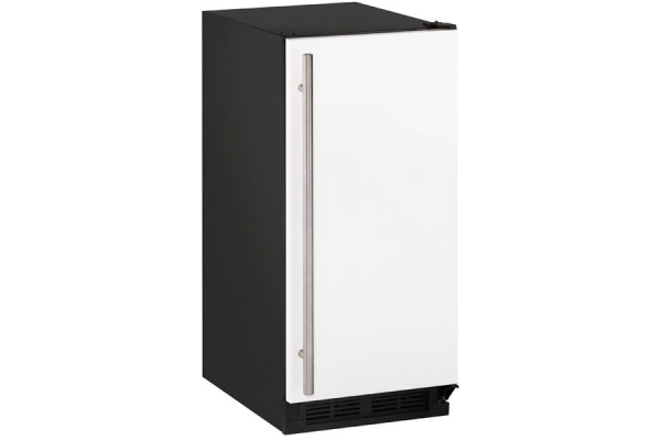 """Large image of U-Line 1000 Series 15"""" White Solid Clear Ice Machine With Factory-Installed Drain Pump - U-CLR1215W-40B"""