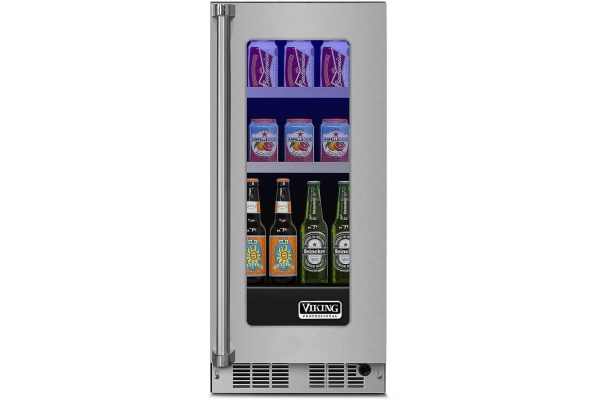 """Large image of Viking 15"""" Professional Stainless Steel Right Hand Hinge Glass Door Beverage Center - VBUI5150GRSS"""