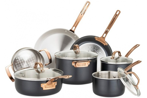 Large image of Viking Stainless Steel 3-Ply Black 11 Piece Cookware Set - 40149991C