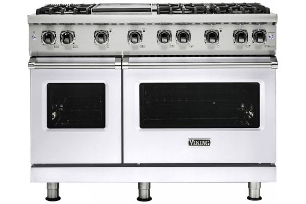 """Large image of Viking 48"""" Professional 5-Series White Gas Range - VGR5486GWH"""