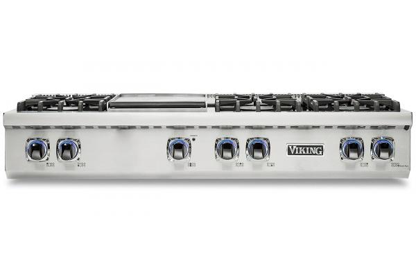 "Large image of Viking Professional 7 Series 48"" Stainless Steel Liquid Propane Rangetop - VRT7486GSSLP"