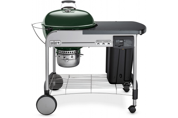 """Large image of Weber 22"""" Green Performer Deluxe Charcoal Grill - 15507001"""
