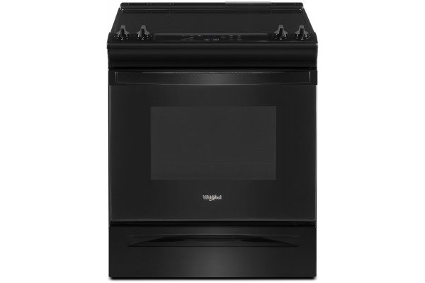 """Large image of Whirlpool 34"""" Tall Black Slide-In Electric Range With Self Clean Oven Cycle - WEE515SALB"""