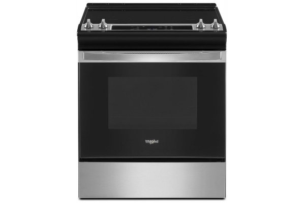 """Large image of Whirlpool 34"""" Tall Stainless Steel Slide-In Electric Range With Self Clean Oven Cycle - WEE515SALS"""