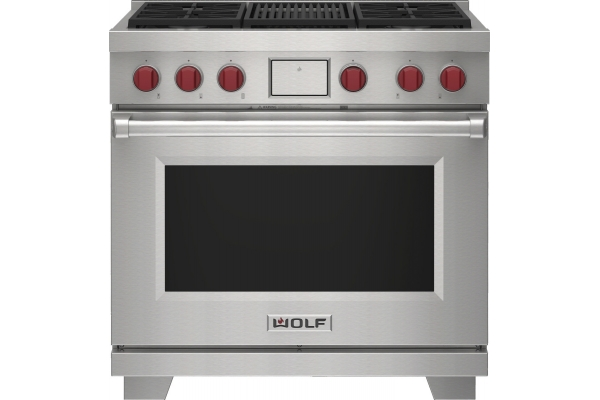 """Large image of Wolf 36"""" Stainless Steel Dual Fuel Liquid Propane Range With 4 Burners and Infrared Charbroiler - DF36450CSPLP"""