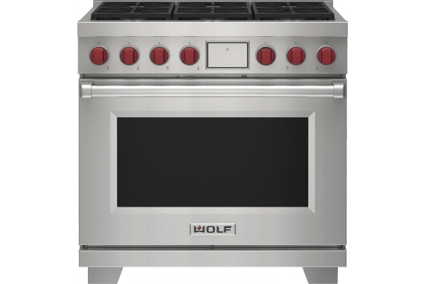 """Large image of Wolf 36"""" Stainless Steel Dual Fuel Liquid Propane Range With 6 Burners - DF36650SPLP"""