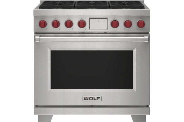 """Large image of Wolf 36"""" Stainless Steel Dual Fuel Range With 6 Burners - DF36650SP"""