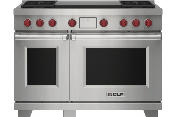 """Large image of Wolf 48"""" Stainless Steel Dual Fuel Liquid Propane Range With 4 Burners and Infrared Dual Griddle - DF48450DGSPLP"""