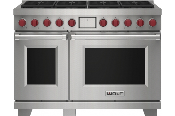"""Large image of Wolf 48"""" Stainless Steel Dual Fuel Liquid Propane Range With 8 Burners - DF48850SPLP"""