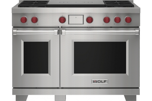 """Large image of Wolf 48"""" Stainless Steel Dual Fuel Range With 4 Burners and French Top - DF48450FSP"""