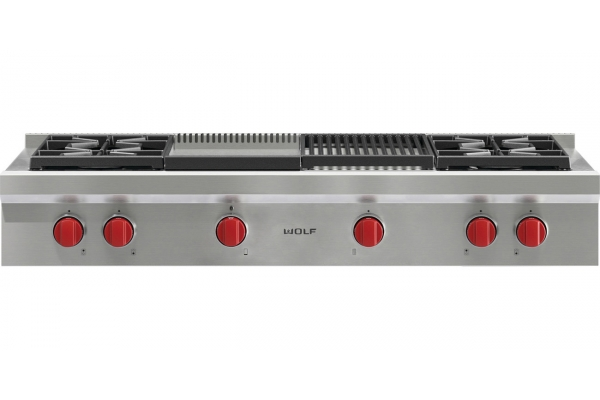 """Large image of Wolf 48"""" Stainless Steel Gas Rangetop - SRT484CG"""