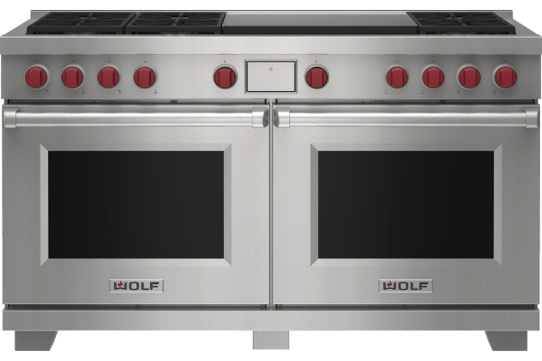 """Large image of Wolf 60"""" Stainless Steel Dual Fuel Liquid Propane Range With 6 Burners and Infrared Dual Griddle - DF60650DGSPLP"""