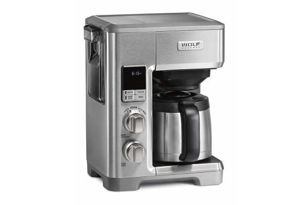Large image of Wolf Gourmet Stainless Steel 10-Cup Coffeemaker w/ Brushed Silver & Black Knobs - WGCM120SR