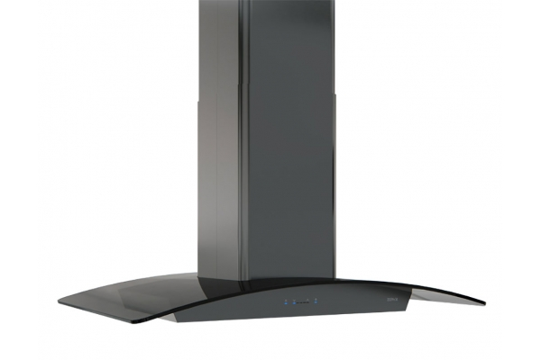 "Large image of Zephyr 36"" Ravenna Black Stainless Steel With Smoke-Gray Glass Island Hood - ZREM90ABSGG"