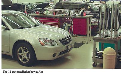 The 12-car installation bay at Abt