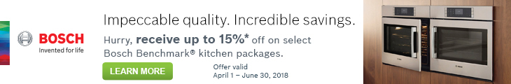 Impeccable quality. Incredible savings. Hurry, receive up to 15%* off on select Bosch Benchmark® kitchen packages. Offer valid April 1 - June 30, 2018