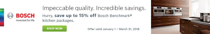 Save up to 15% off Select Bosch Kitchen Packages by mail-in rebate