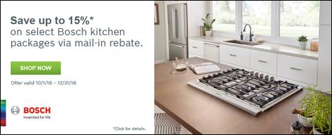 Receive up to 15% Rebate on Bosch Benchmark™ Kitchen Packages - Offer valid October 1st - December 31st, 2018
