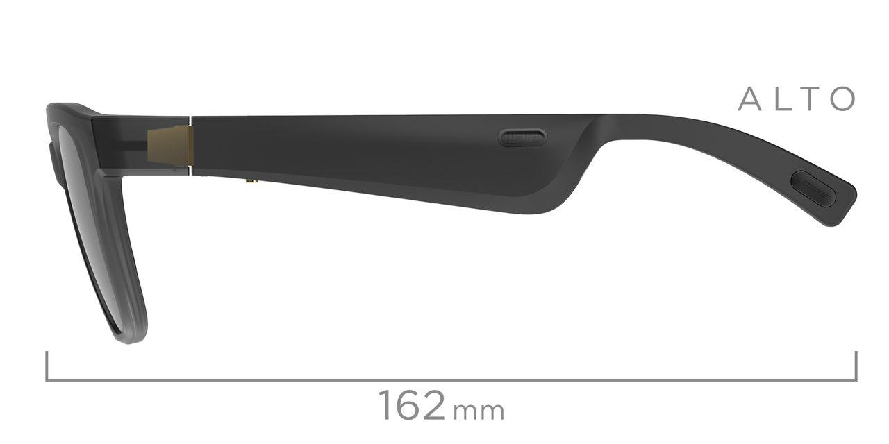 Alto Side View with Temple Length Measurement of 162mm. Shop Bose Alto Frames.