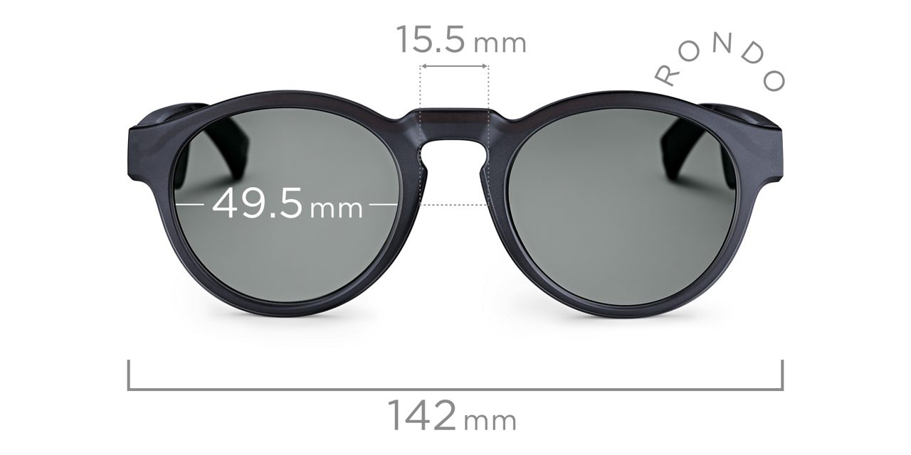 Rondo Front View with Lens Width measurement of 49.5mm and Distance Between Lenses measurment of 142mm.