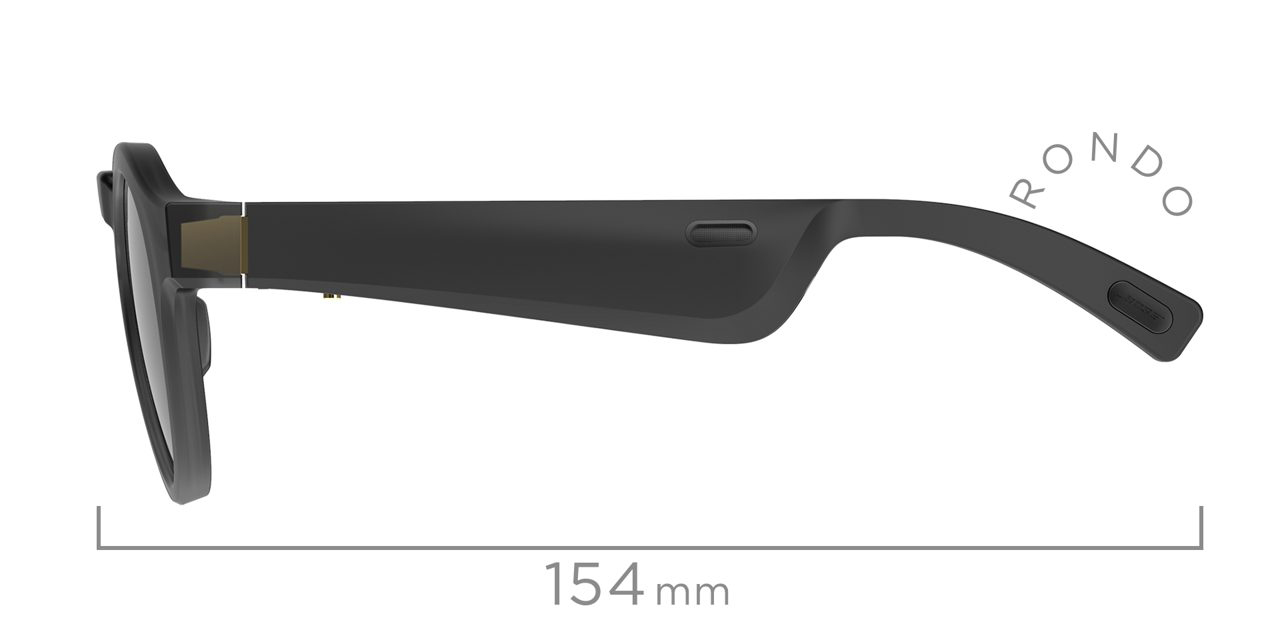 Rondo Side View with Temple Length Measurement of 154mm.