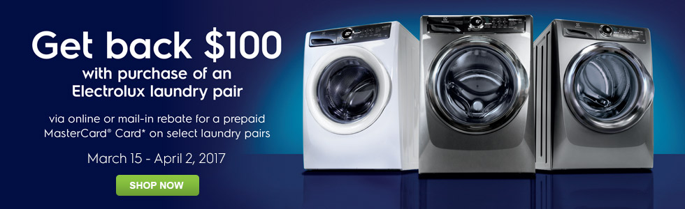 Get Back $100 with purchase of a New Electrolux Laundry Pair - 3-15 - 4-2