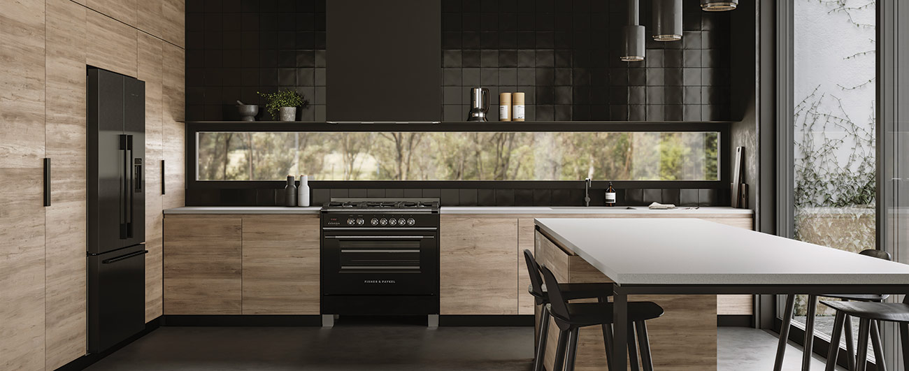 Fisher & Paykel Kitchen - Refrigerator, Range, Range Hood in Black Stainless