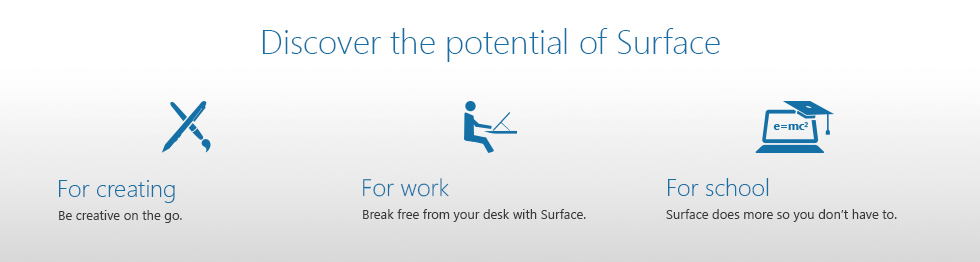 Microsoft Surface - Discover the potential of Surface - For Creating - For Work - For School