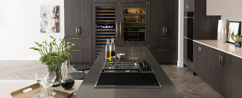 Sub-Zero Wine Refrigerator with Wolf Cooktop, Range Hood, and Double Wall Oven